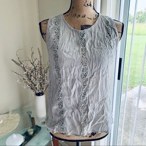 Anthro Sophie Rue silver lace top